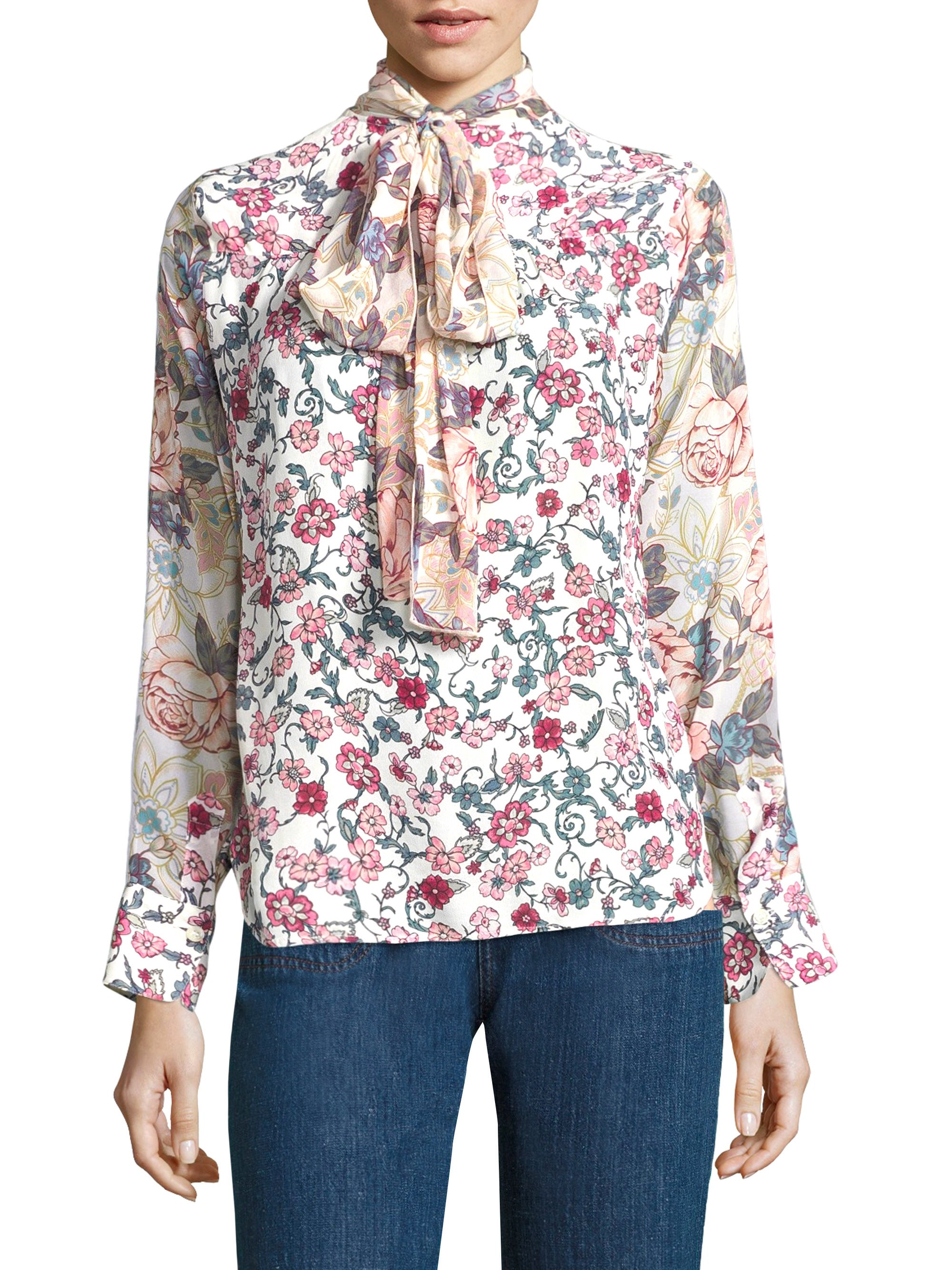 7244a053 Floral-Print Tie-Neck Blouse by SEE BY CHLOÉ | Products | Tie neck ...