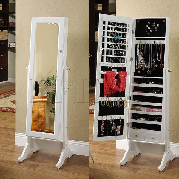 Muebles de madera con espejo gabinete de la joyer a imagen for Gabinete de zapatos para la entrada