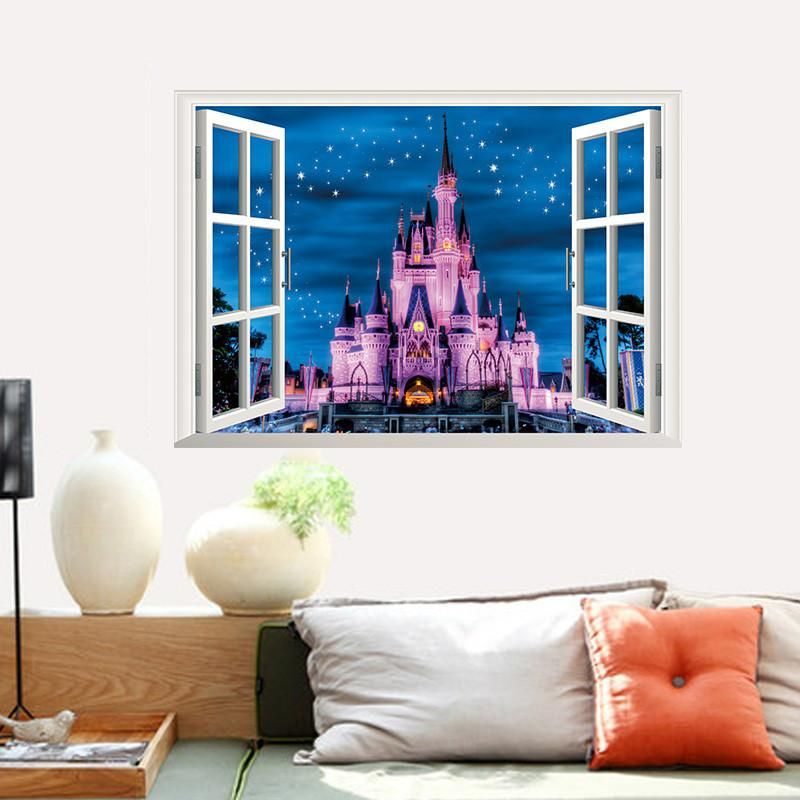 This Fake Window View Of The Dinsey Castle Decal Is Perfect For