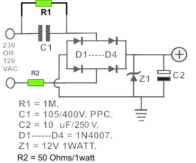 12v Dc Powersupply Transformerless Power Supply Circuit Circuit Projects Electronics Circuit