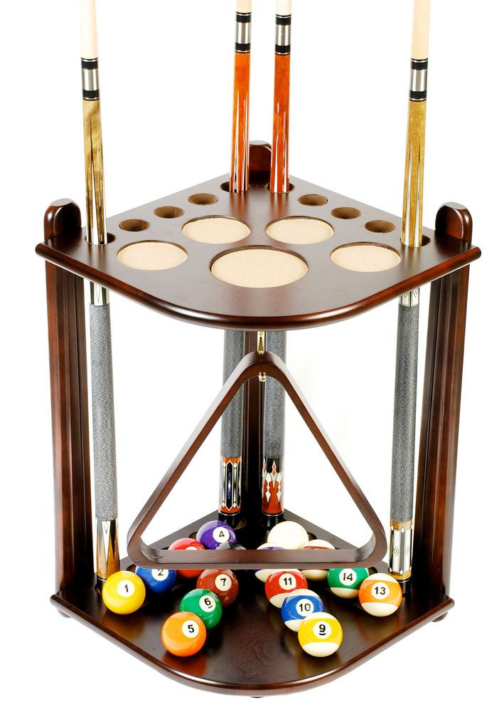 Cue Rack Only 10 Pool Billiard Stick Ball Floor Stand Holder Mah Finish Pool Cue Rack Billiards Game Room Bar