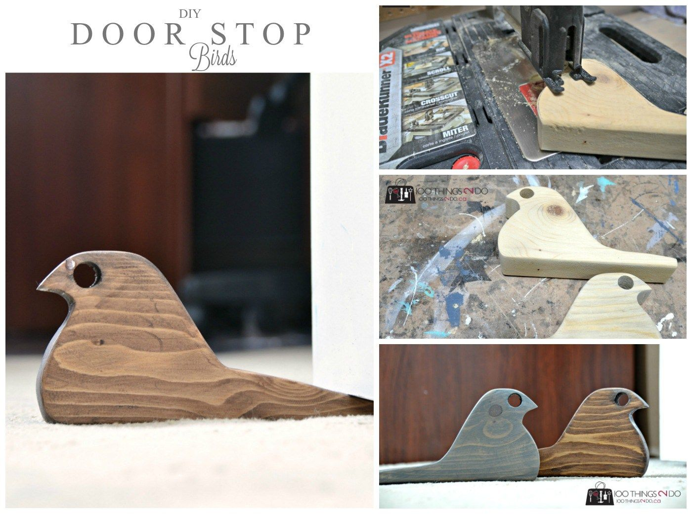 Diy Door Stop Rustic Bird From Scrap Wood Door Stopper Diy Diy Door Diy Doorstop