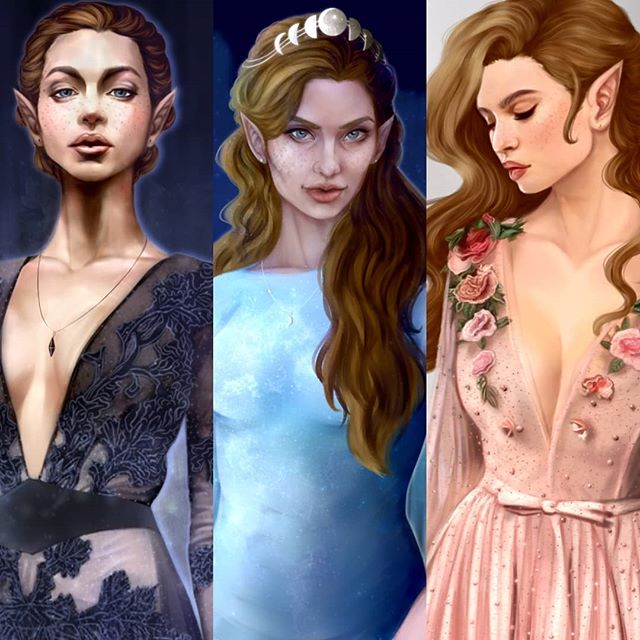 The Archeron sisters (Nesta, Feyre, and Elain) by @sncinderart • Instagram