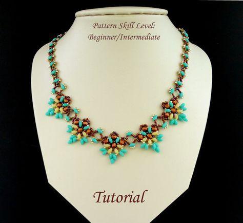 Istruzioni del modello perline - beadweaving esercitazione perline superduo o due gioielli rocaille - ORCHIDEE beadwoven collana