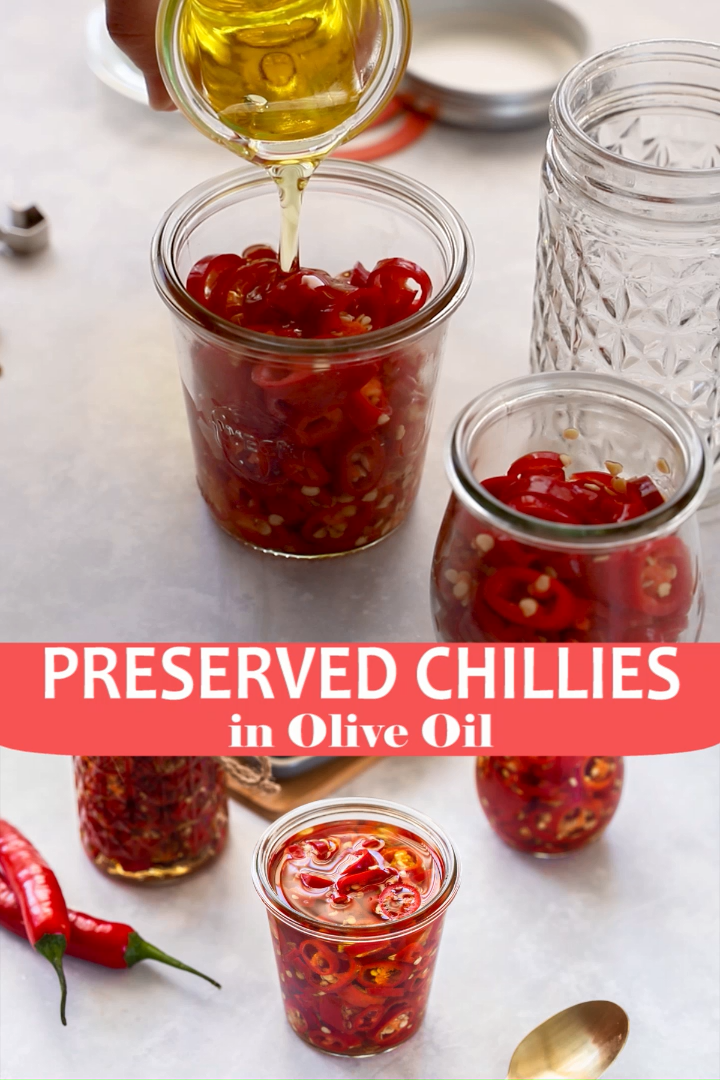 Preserved Chillies in Oil are a fantastic condiment. A great edible gift, and addition to so many dishes. They are delicious and great to have on hand!