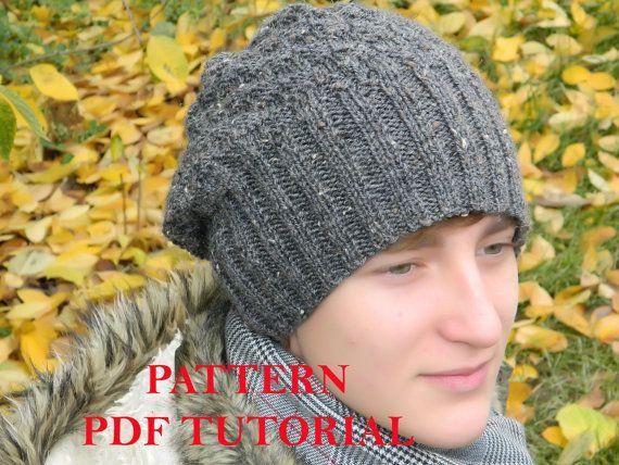 Slouchy Men Beanie Pattern Man Knit Hat Pdf Tutorial Knitting