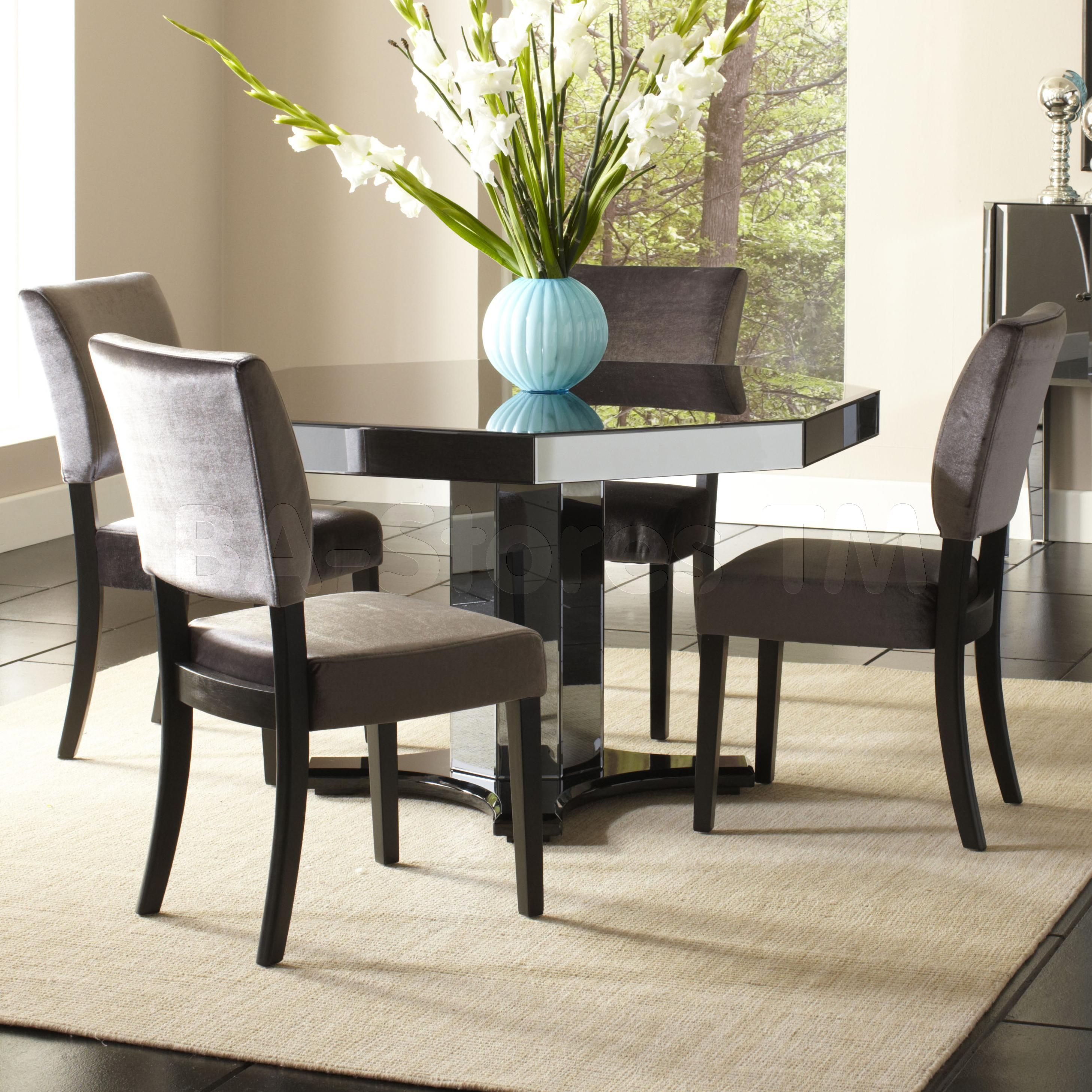 Parisian Smoked Mirror 5 Pc Octagon Dining Set Table And 4 Chairs