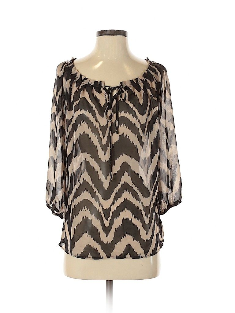 Agb 3 4 Sleeve Blouse Black Chevron Herringbone Tops Size Small In 2020 Clothes Second Hand Clothes Blouses For Women