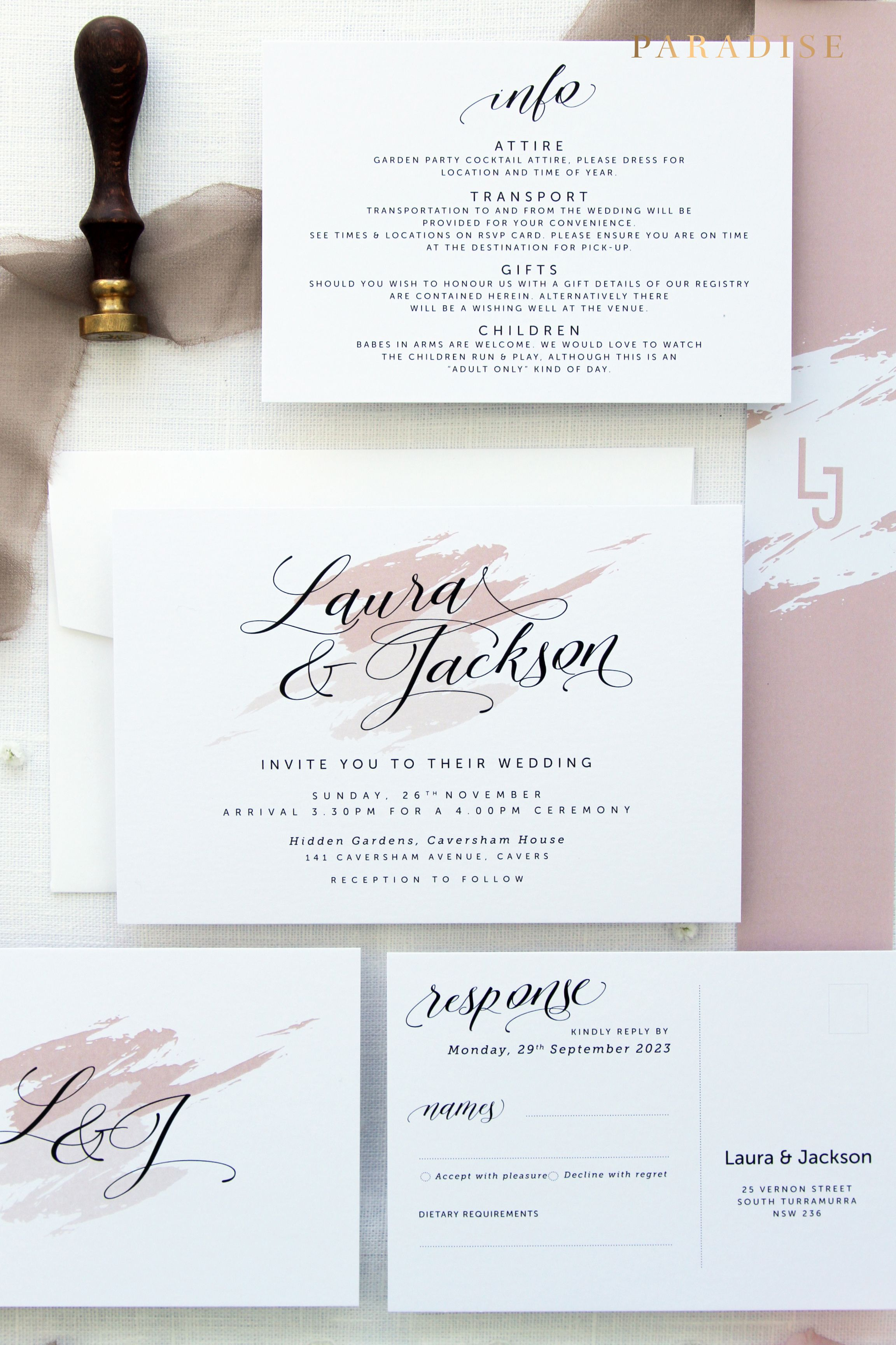 Mikaela Wedding Invitation Sets Printable