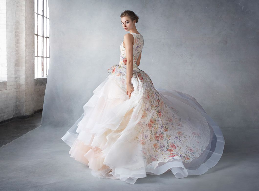 Bridals by lori lazaro 0130234 in store httpshop lazaro 3613 sherbet silk organza floral printed bridal ball gown jewel neckline front and back dropped waist side gathered pickup skirt layered with ombrellifo Choice Image