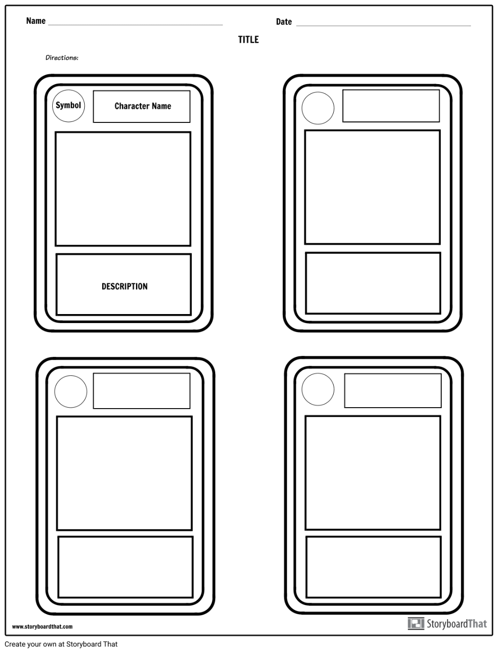Character Trading Cards Storyboard By Worksheet Templates Trading Card Template Diy Trading Cards Baseball Card Template