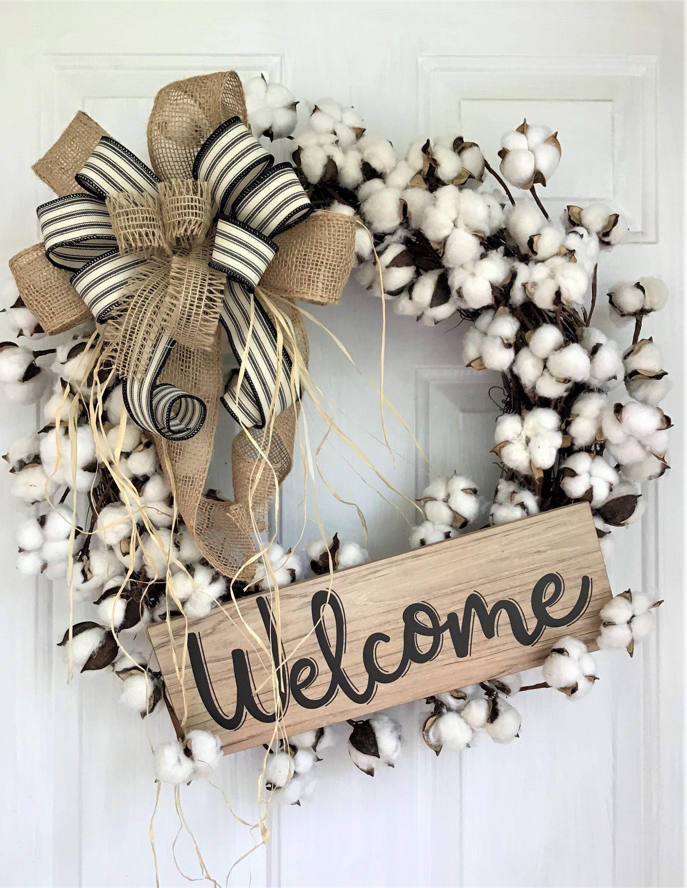 Photo of Cotton wreath for the front door, farmhouse wreath for the front door, country door wreath, rustic wreath, farmhouse door decor, welcome door wreath