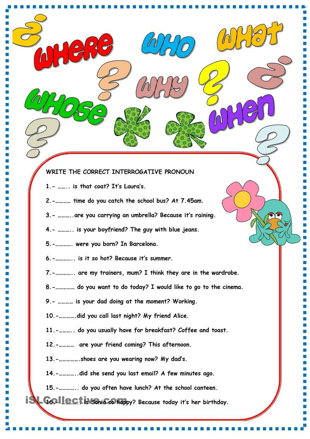 Interrogative Pronouns Pronoun worksheets, Interrogative