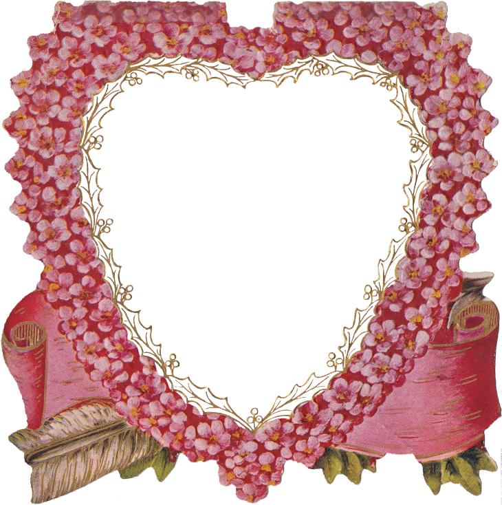 "Die Cut Pink Flower Heart & ""Peace Be Within Thee"" Poem 