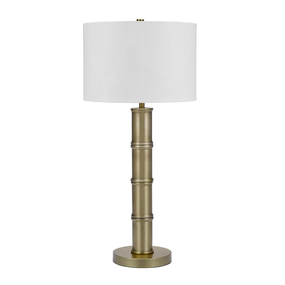 Cresswell 33 In Antique Brass Art Deco Coastal Bamboo Table Lamp And Led Bulb Bm1386 02 Table Lamp Crystal Table Lamps Lamp