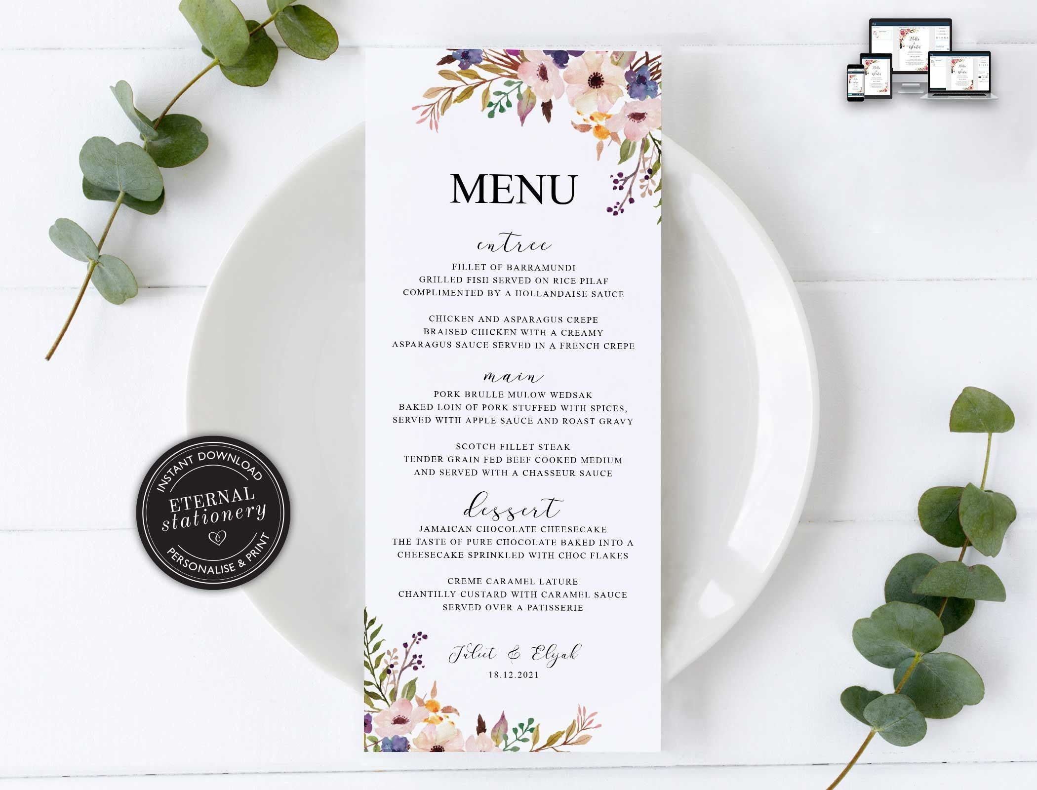 Floral Menu Template, Watercolour floral menu, Boho, posy, Editable Menu, Wedding Menu, Birthday, Christening, Baptism, Dinner menu, Juliet #weddingmenutemplate Floral Menu Template, Watercolour floral menu, Boho, posy, Editable Menu, Wedding Menu, Birthday, Christening, Baptism, Dinner menu, Juliet #weddingmenutemplate
