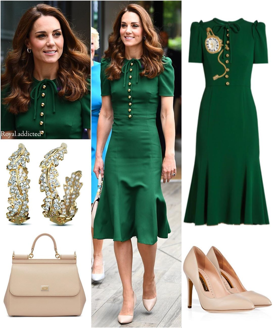 "Photo of Royal Addicted on Instagram: ""Duchess of Cambridge Style! Dress: Dolce & Gabbana (first worn in 2016); Shoes: Rupert Sanderson; Bag: Dolce & Gabbana; Earrings: Asprey…"" – Herzogin Kate"