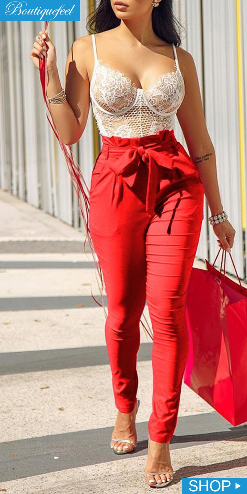 20f6a216e112 Frills High Waist Long Pants | Street style in 2019 | Long pants ...