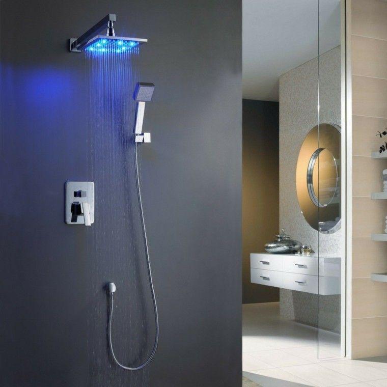 diseo de ducha moderna con luz azul