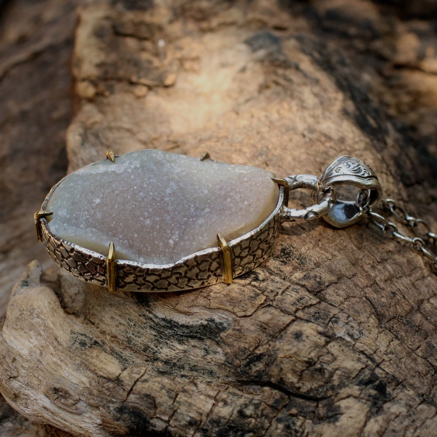 Oval cut druzy gemstone pendant necklace with hand engraved details oval cut druzy gemstone pendant necklace with hand engraved details and silver chain aloadofball Gallery