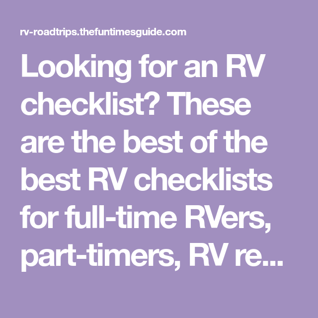Need An RV Checklist?... Here Are All The Best Checklists