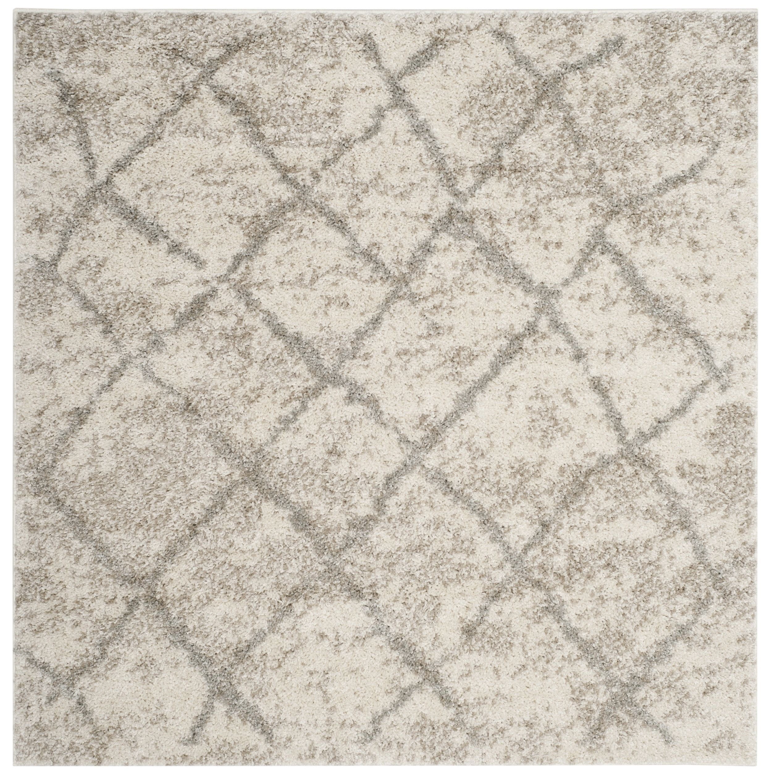 safavieh berber tribal cream ivory light grey shag rug 5u0027 1 - Grey Shag Rug
