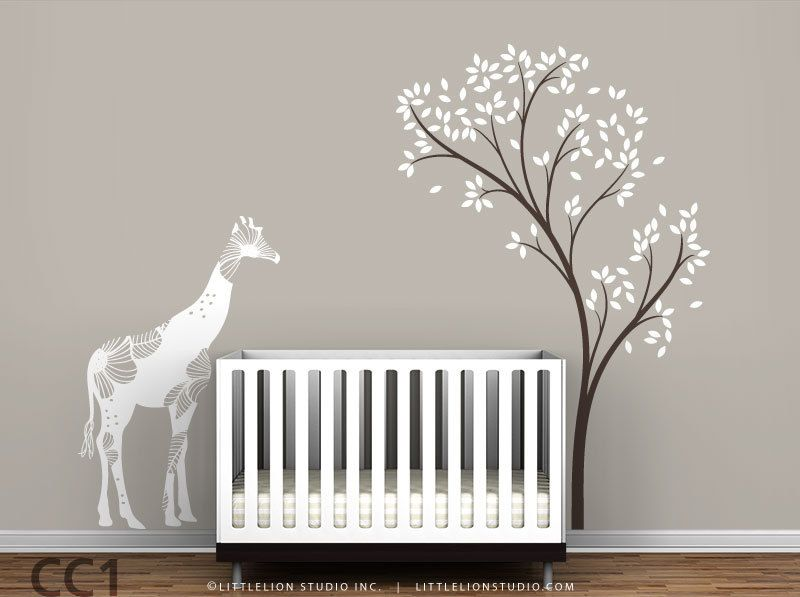 Baby Floral Giraffe And Spring Tree Wall Decal Mural Baby - Baby nursery wall decals