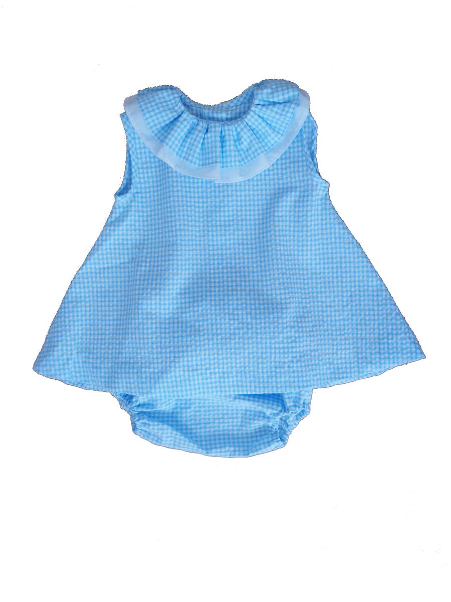 682e32646 blue vichy dress Ropa Bebe