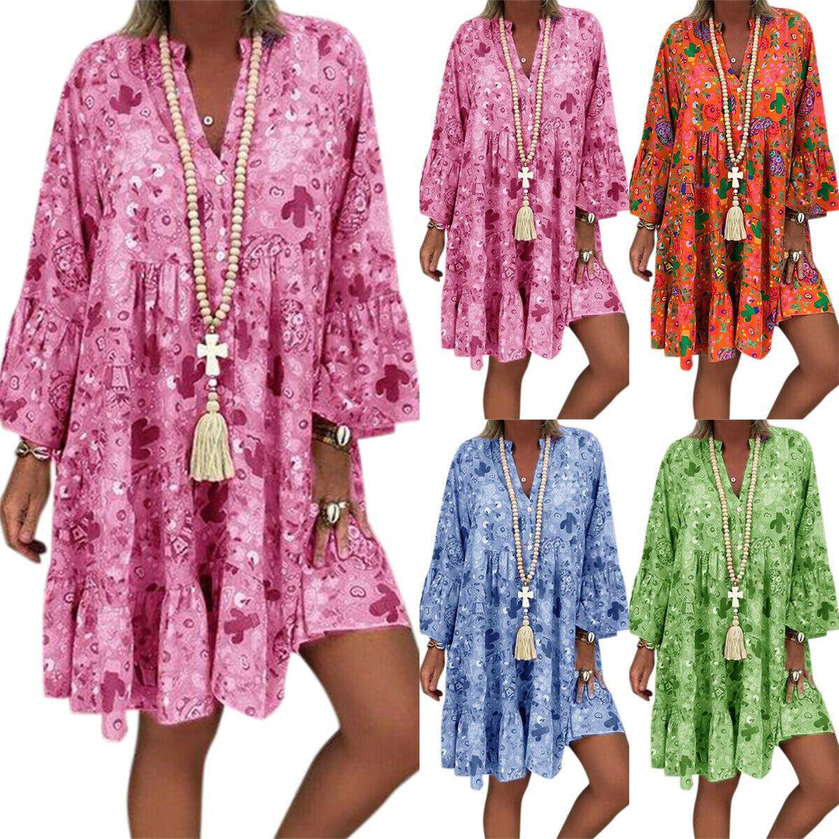 boho damen blumen strandkleid sommerkleid minikleid