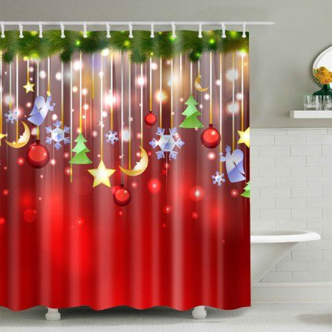 Hanging Socks Waterproof Bath Christmas Shower Curtain Christmas