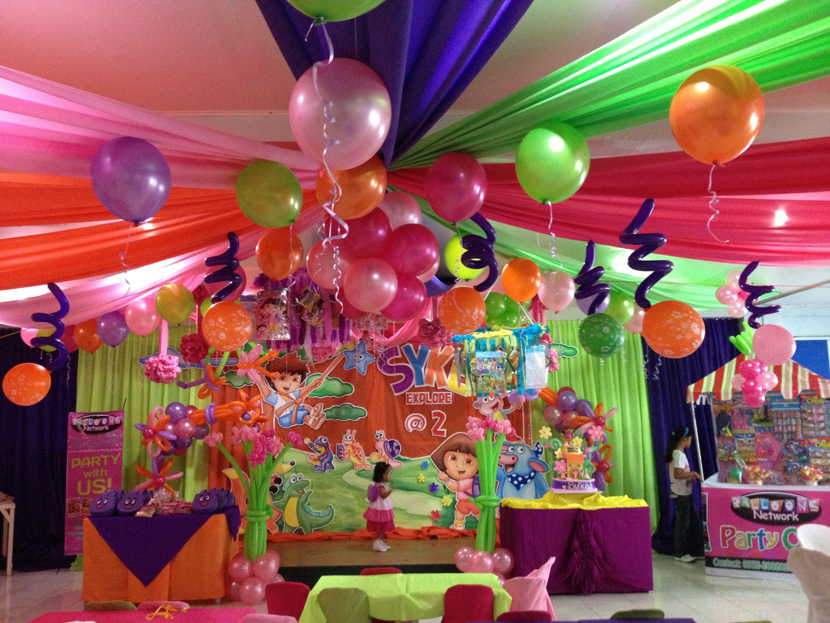 Dora Theme Party Bubbles Birthday Party Kids Party Themes Dora Party Ideas