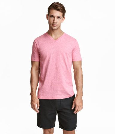 V-neck T-shirt | Pink melange | Men | H&M US | mens clothing ct ...