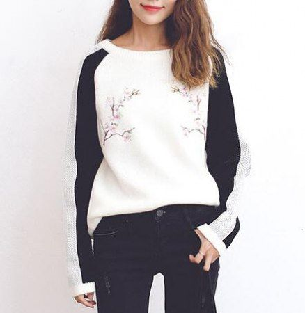 Embroidered flower sweater for women color block knit