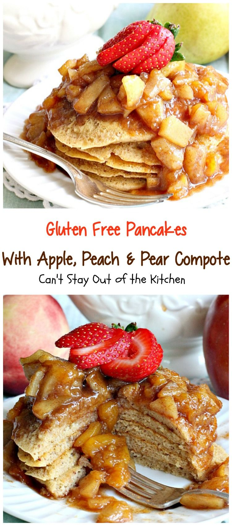 Gluten Free Pancakes with Apple, Peach & Pear Compote   Can't Stay Out of the Kitchen   absolutely delectable #pancakes with a naturally sweet compote. Great idea for a #holiday #breakfast. Healthy, #cleaneating #glutenfree