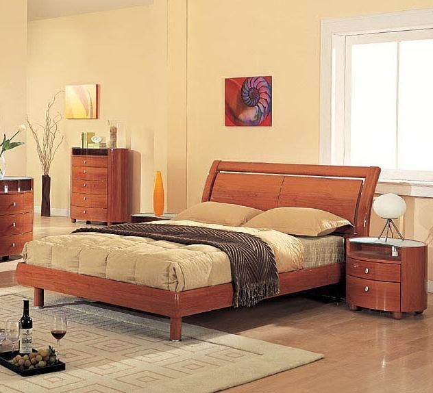Elegant Wood Elite Platform Bed with Headboard Storage ...
