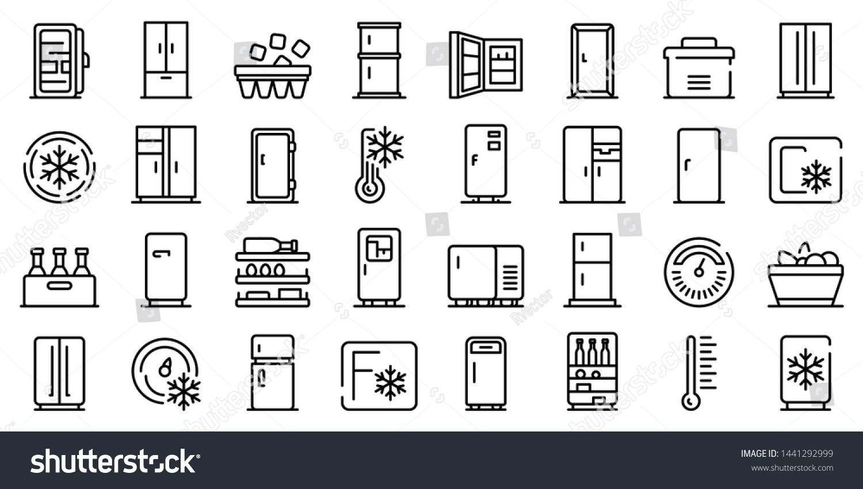 Fridge Icons Set Outline Set Of Fridge Vector Icons For Web Design Isolated On White Background Sponsored A Icon Set Graphic Design Tutorials Kitchen Icon
