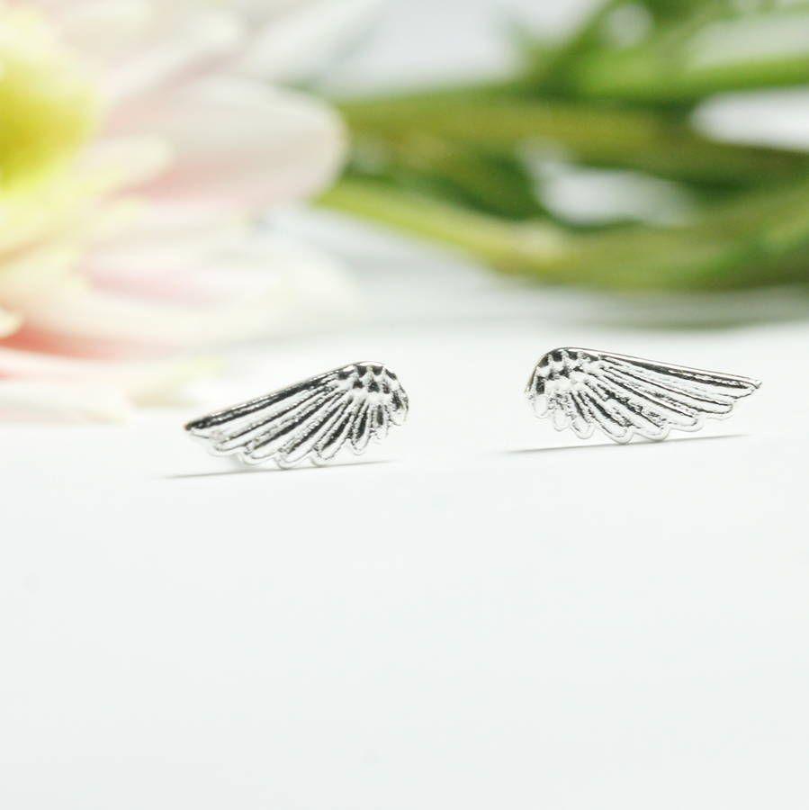 Silver Angel Wing Earring Studs