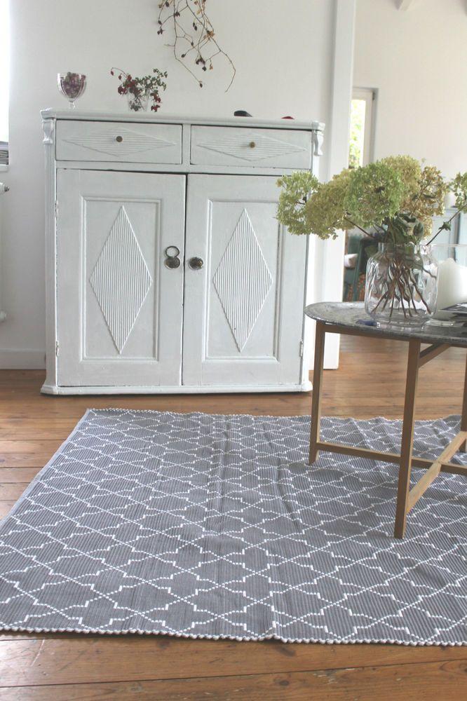 baumwollteppich teppich schweden grau 140x200 l ufer ripsteppich nyblom kollen in m bel wohnen. Black Bedroom Furniture Sets. Home Design Ideas