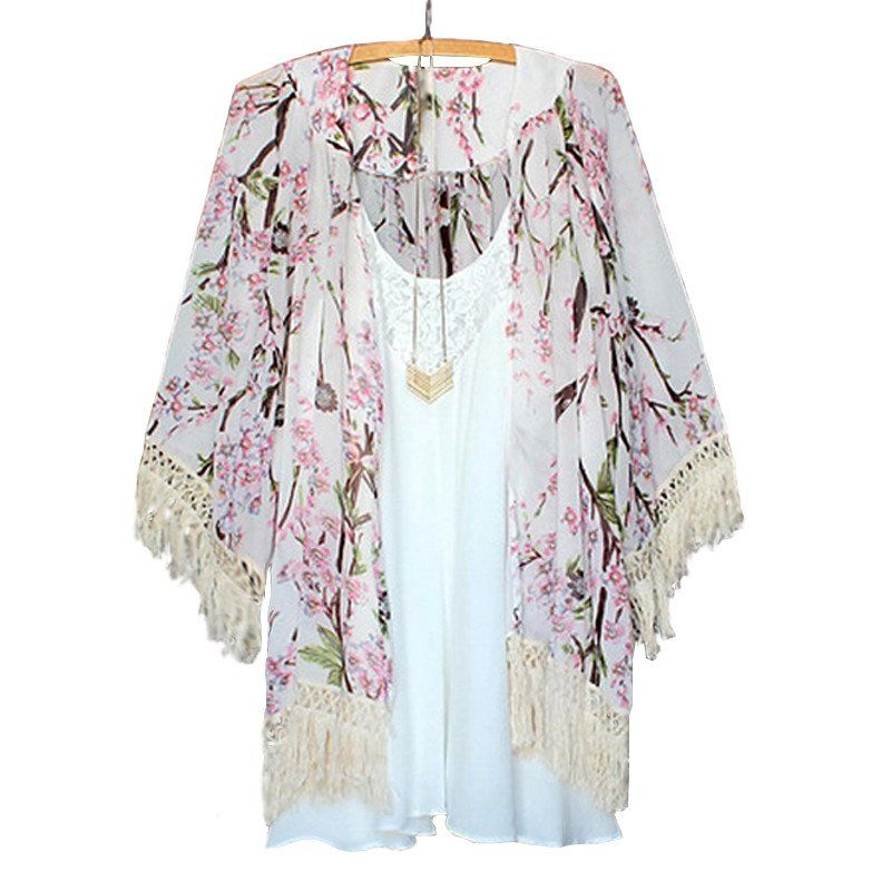 Printed Chiffon Blouses Floral Print Kimono Cardigan ...
