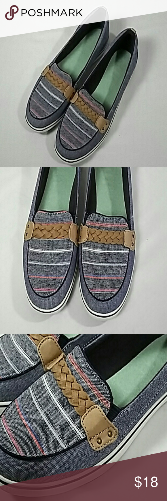 Grasshoppers darkest Brown w/Cream Bow Canvas Cushioned Insoles Shoes Size 6M