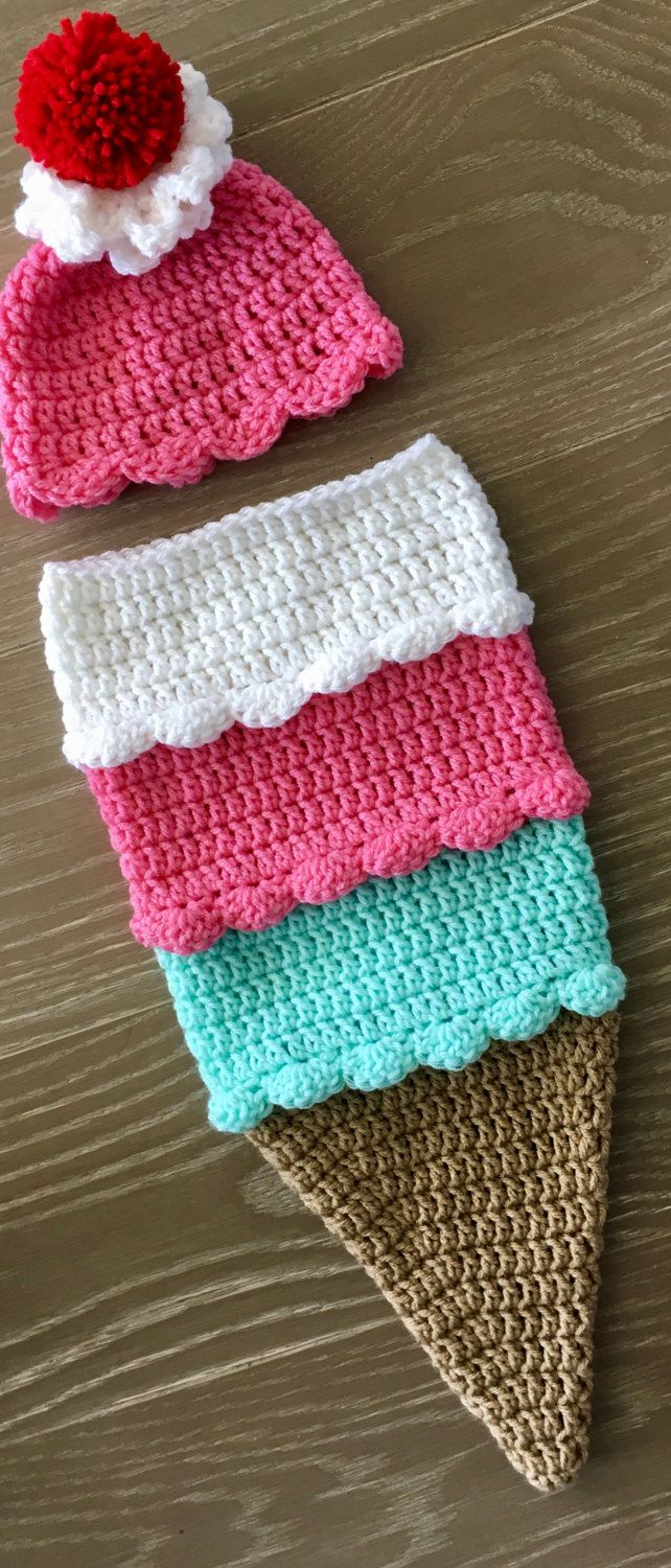 d42789d38ee Crochet newborn ice cream cone cocoon with matching hat