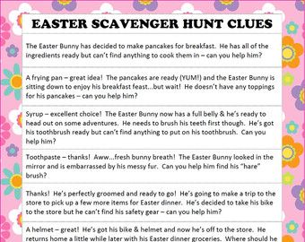 Instant download easter scavenger hunt easter hunt clues easter scavenger hunt easter basket hunt easter by jsdaydesigns negle Image collections