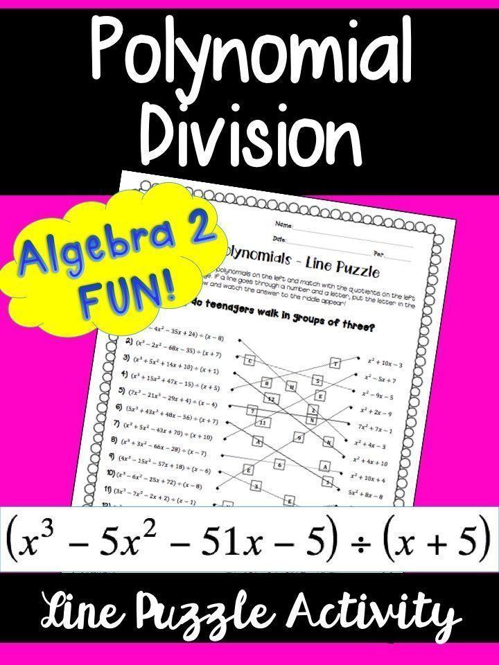 Polynomial Division: Line Puzzle Activity | - Math Explorations ...