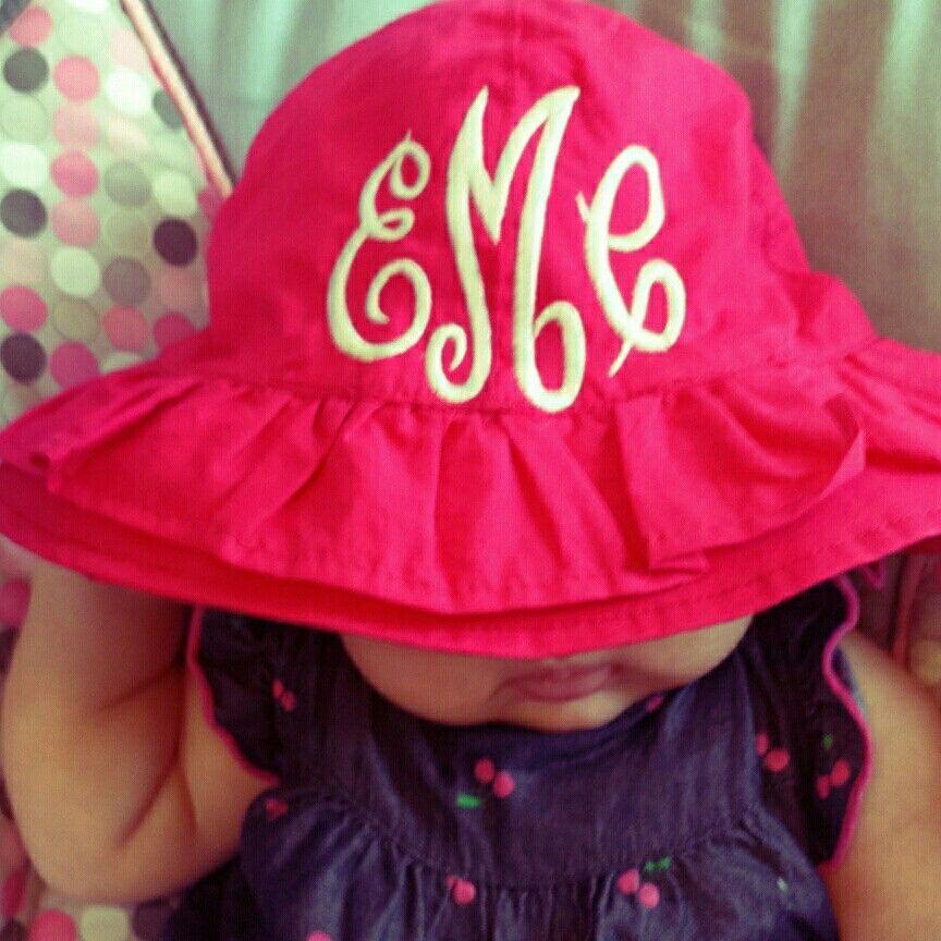 83bd8f4f225 Large monogram on infant hat. Impress or fancy circle font White thread on hot  pink