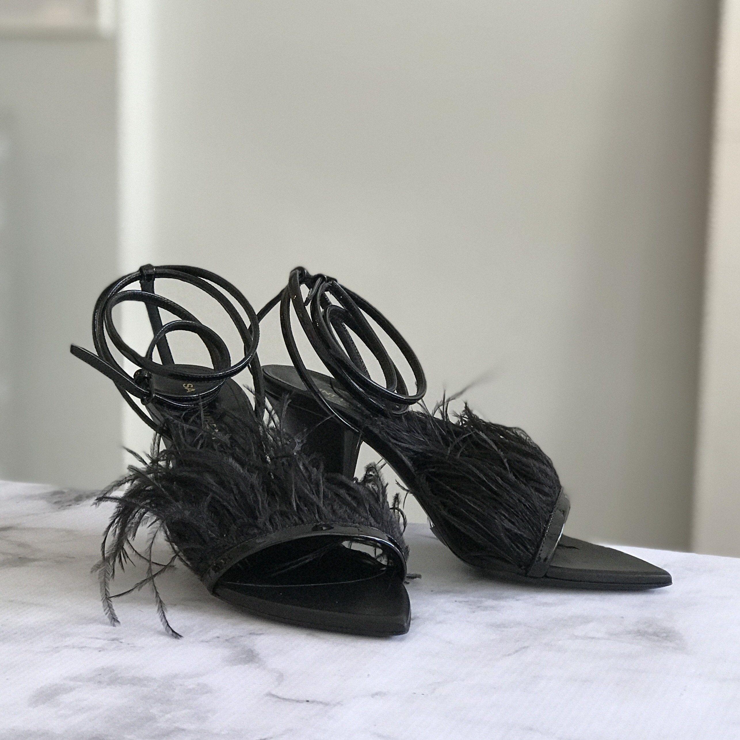 98404681cdf Saint Laurent Black Ostrich Feather Heels