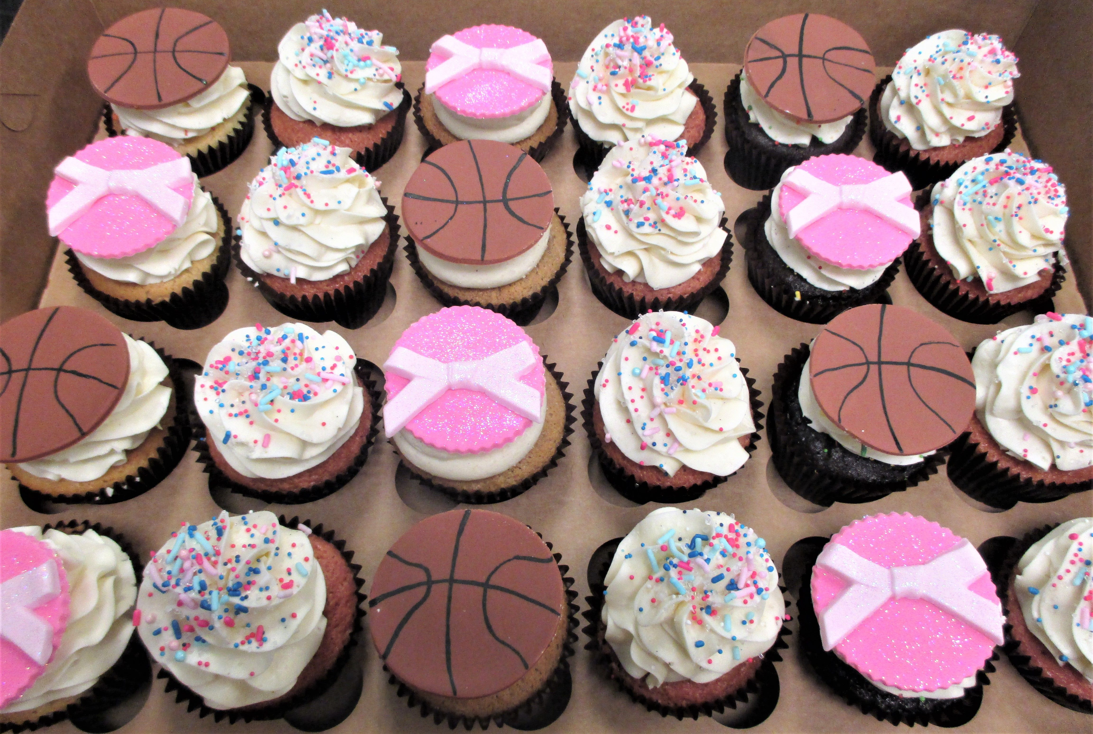 Custom Gender Reveal Basketballs Or Bows Cupcakes By Flavor Cupcakery Gender Reveal Cake Gender Reveal Party Decorations Bow Cupcakes