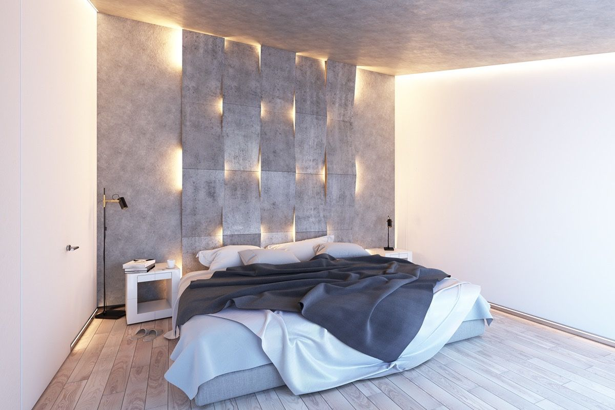 Bedroom: Decorative Headboard With Built In Reading Lights Cabinet Shelves  Design With Built In Lights For Bedroom Concrete Granite Flooring Small  Master ...