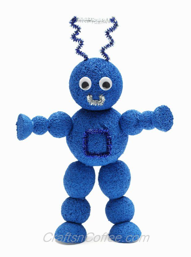 Easy to follow tutorial for making styrofoam robots with for Art crafts for boys
