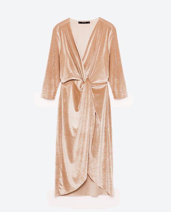 Image 8 of CROSSOVER VELVET DRESS from Zara   style   Pinterest