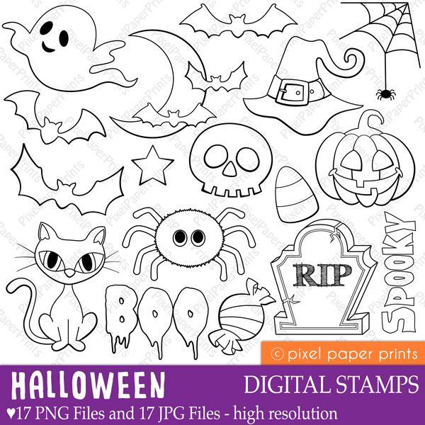 Halloween Digital Stamps Digital Stamps Mygrafico Com Dibujos De Halloween Halloween Para Colorear Cosas De Halloween